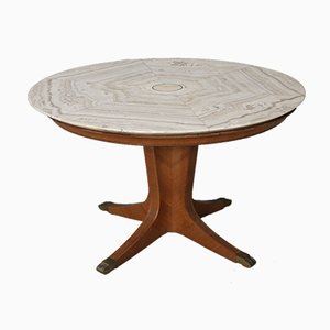 Mid-Century Onyx and Wood Round Dining Table by Paolo Buffa, 1950s