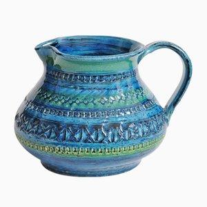 Brocca vintage in ceramica blu di Bitossi, anni '70