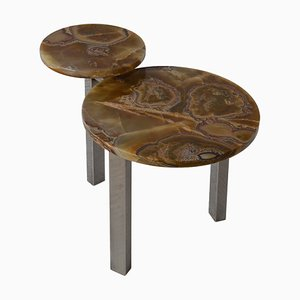 Contemporary Coffee Table Onyx Marble Tops Grinded Steel Base Handmade In Italy by Cupioli