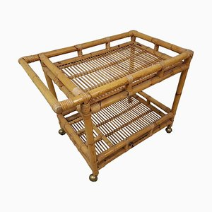Mid-Century French Bamboo and Rattan Trolley, 1960s