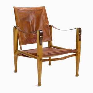 Danish Cognac Leather Safari Chair by Kaare Klint for Rud Rasmussen, 1960s