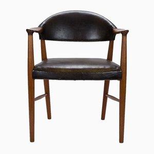 Danish Teak and Leather Model 223 Desk Chair by Kurt Olsen for Slagelse Møbelværk, 1950s