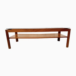 Vintage Teak and Smoked Glass Coffee Table