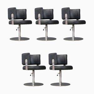 Vintage Esszimmerstühle aus schwarzem Leder & Stahl von Formanova, 1970er, 5er Set