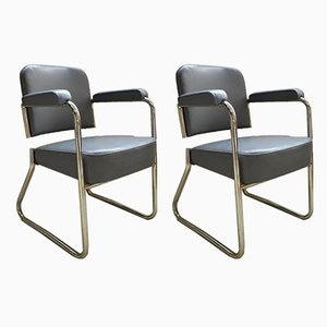 Industrial French Chrome Tubular Steel Lounge Chairs from Roneo, 1950s, Set of 2
