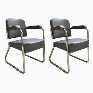 Industrielle französische Armlehnstühle mit verchromten Stahlrohrgestellen von Roneo, 1950er, 2er Set