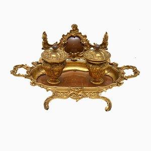 Antikes französisches Tintenfass aus vergoldeter Bronze & Nussholz