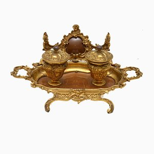 Antique French Gilt Bronze & Walnut Inkwell