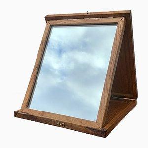 Espejo de tocador Mid-Century plegable de madera