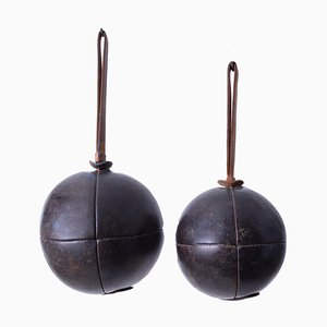 Vintage Leather Medicine Balls, 1950s, Set of 2