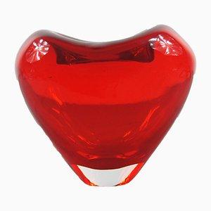 Herzförmige italienische Vintage Vase aus Muranoglas von M.C. Hamel