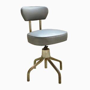 Chaise de Bureau Ajustable Industrielle en Acier Tubulaire de Roneo, France, 1950s