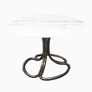 Vintage Italian Pink Marble and Steel Dining Table, 1970s