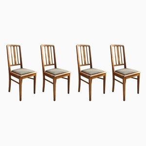 Französische Esszimmerstühle aus massiver Buche, 1950er, 4er Set