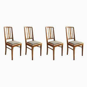 French Solid Beech Dining Chairs, 1950s, Set of 4