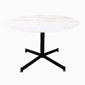 Mid-Century Italian Pink Marble and Black Metal Dining Table, 1950s