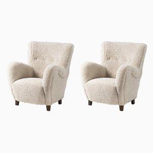 Dänische Sessel mit Schaffellbezügen, 1950er, 2er Set