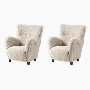 Danish Sheepskin Lounge Chairs, 1950s, Set of 2