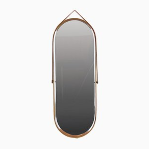 Oval Wood-Framed Mirror, 1950s