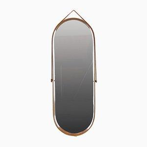 Specchio ovale con cornice in legno, anni '50
