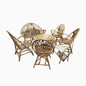 Rattan Lounge Seating Set, 1960s, Set of 7