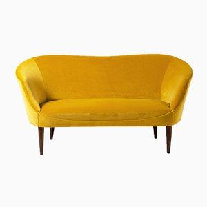 Gelbes schwedisches Love Seat Samtsofa, 1950er