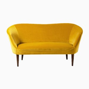 Swedish Yellow Velvet Love Seat Sofa, 1950s