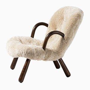 Sedia in pelle di pecora di Philip Arctander per Nordisk Staal & Møbel Central, anni '40