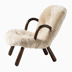 Silla Clam de piel de oveja de Philip Arctander para Nordisk Staal & Møbel Central, años 40