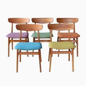 Dänische Mid-Century Esszimmerstühle aus Teak, 5er Set