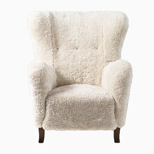 Danish Sheepskin Wing Chair by Christian Sorensen, 1950s