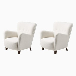 Danish Boucle Lounge Chairs from Fritz Hansen, 1940s, Set of 2