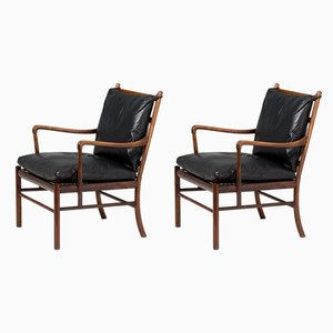 Vintage Model PJ-146 Rosewood Lounge Chairs by Ole Wanscher for Poul Jeppesens Møbelfabrik, 1940s, Set of 2