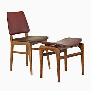 Sedia e poggiapiedi in granato, anni '50, set di 2