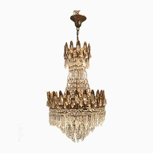 Kronleuchter aus vergoldeter Bronze mit Behang aus Kristallglas, 1960er