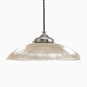 Vintage Ribbed Glass Pendant Lamp from Holophane