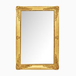 Espejo francés antiguo rectangular con marco de madera dorada