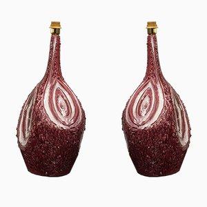Lampes de Bureau Mid-Century Bordeaux en Céramique, années 60, Set de 2