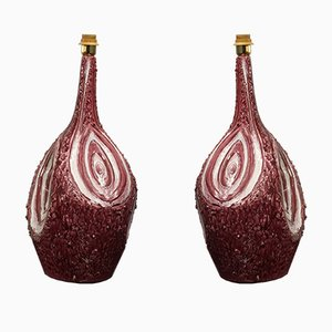 Mid-Century Italian Burgundy Ceramic Table Lamps, 1960s, Set of 2