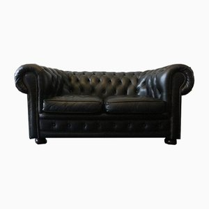 Vintage Black Leather Chesterfield Sofa