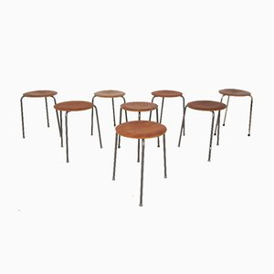 Danish Teak Stools, 1950s, Set of 8