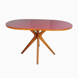 Mid-Century Italian Burgundy Glass Oval Dining Table, 1950s