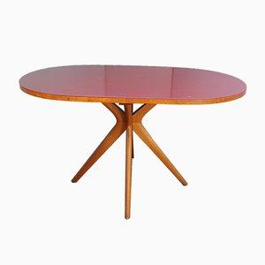 Table de Salle à Manger Ovale Mid-Century en Verre Bordeaux, Italie, 1950s