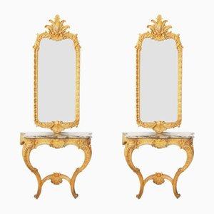 Espejo de recibidor antiguo y mesa consola. Juego de 2