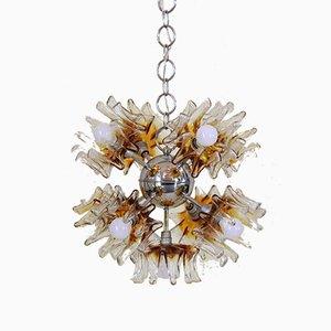 Lámpara de araña Sputnik de cristal de Murano y hierro cromado de Carlo Nason para Mazzega, años 70