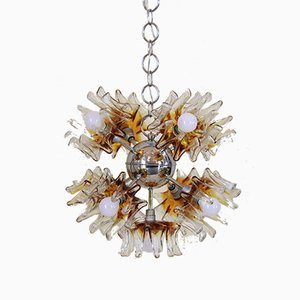 Sputnik Murano Glass and Chromed Iron Chandelier by Carlo Nason for Mazzega, 1970s