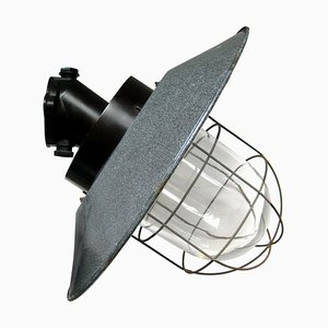 Vintage Industrial Gray Enamel, Bakelite, and Clear Glass Sconce