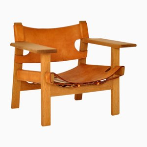 Spanish Oak and Leather Lounge Chair by Børge Mogensen for Fredericia, 1960s