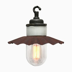 Vintage Industrial Porcelain Rust Brown Metal and Clear Glass Pendant Lamp