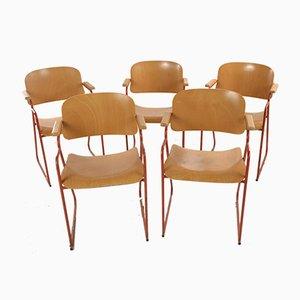 Chaises de Bureau en Métal Rouge et Contreplaqué, Italie, 1960s, Set de 6